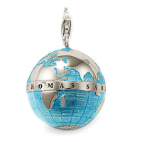 World Silver Pendant Blue globe Charm pendant necklace gothic jewelry round pendant new fashion silver jewellery free shipping