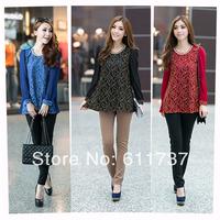 CC953# 2014 New Fashion Lace Crochet Chiffon Floral Lace Coat Long Sleeve Top For Women Blouses 4XL XXL XXXL XXXXL