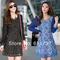 CC952# 2014 New Fashion spring Long Sleeve Lace Dress Elegant Slim Dress for Ladies XL XXL XXXL