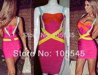 2014 Spring New Luxury Multicolor Strap Sweetheart Bandage Evening Celebrity Prom Dress