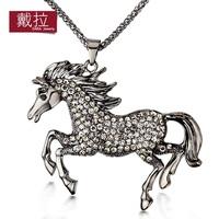 18K Platinum Plated Horse big Pendant Rhinestones Necklaces Made of Austrian Crystals Nickel Free Jewelry TN227