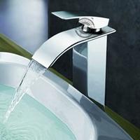Brand New Chrome Vessel Waterfall Faucet, Polished Single Hole Deck Mounted Bathroom basin Tap. Torneira Cozinha WB-003V.