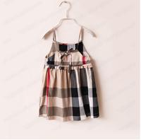 HOT girl plaif dress sleeveless side zip summer dress baby girls dress children clothing