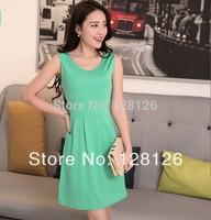 2014 spring women's one-piece dress summer sleeveless vest one-piece dress plus size clothing