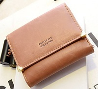 Free shipping new 2014 women wallets fashion short paragraph long section of multi-bit cards candy color PU leather wallet