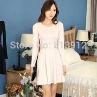 2014 spring one-piece dress female slim clothing long-sleeve basic one-piece dress