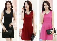 2014 spring plus size clothing summer sleeveless tank dress one-piece dress basic princess dress