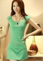 2014 spring women's fashion slim sleeveless tank dress basic summer one-piece dress