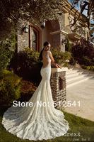 2014 Best Selling Open Back Wedding Dresses Lace Trumpet Mermaid Applique Sequin Bridal Gowns yk8R692