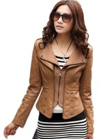 Special offer.  Autumn Women's Leather Clothing , Short Design Slim Spring 2015 Rivet  PU Jacket