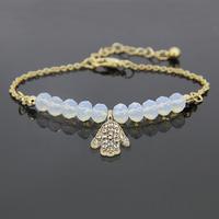 2014 New fashion style beautiful glass beads with crystal fatima hamsa hand charm bracelet