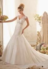 Amanda Novias V-neck a linha de apliques vestidos de noiva Plus Size ML-150(China (Mainland))