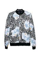 Women fashion floral prints pockets standing collar zipper closure bomber jackets 232905