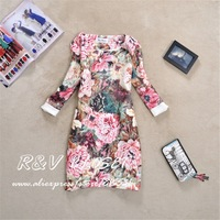[R&V ]brand  new 2014 spring Women lady flower dress vintage retro plus size flora print long sleeve lady bodycon dress RS6357
