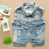 spring 2014 fashion short design simple women's denim vest a waistcoatcasual dress jeans vest
