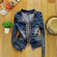 women's top 2014 spring casacos femininos women's denim jacket casual dress jeans cardigan size M L XL