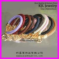 10pcs Latest fashion mixed color leather Michae bracelet, Alloy charms bracelet wristband bangle charm bracelet