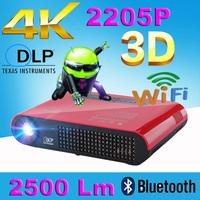 Quad core Android 4.2 Wifi 4000 Lumen Full HD 1280 800 HDMI 3LED DLP active shutter 3D Portable Mini Micro bluetooth Projector