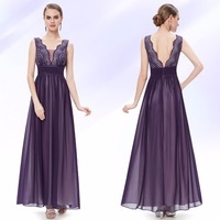 08019 Ever-Pretty 2014 New Arrival Double V-neck Sequined Bust Ruched Black Blue Purple Style Long Evening Dress Party Gown