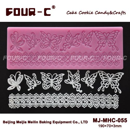 Spedizione gratuita farfalla disegno della torta tappeto in silicone, torta bordo in pizzo stuoia, arte tappeto in silicone fondente