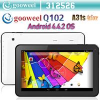 10.1inch Android 4.4 tablet pc Gooweel Q102 Allwinner A31s Quad core HDMI WIFI camera Bluetooth 1GB RAM 8GB/16GB ROM
