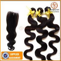 Brazilian Body Wave Virgin Hair 7PCs Lot Cheap 6 Bundles Hair Weaves with 1PC Free Lace Closure Middle Part Human Hair Extension