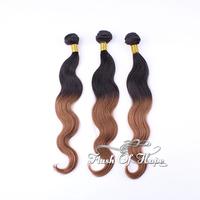 "Ombre Brazilian Virgin Body WaveHuman Hair Extensions 6A Two Tone Colors Hair Weaving Weft 16""-20""  3Pcs/lot Shipping Free"