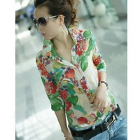 2014 New Summer Women Lady Casual Floral Print Half Sleeve Cardigan Blouses Shirts, Green, Red, M, L, XL