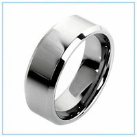 2014 Fashion Men Jewelry Tungsten  Rings High Polish Engagement Wedding Simple Style Smooth Surface Silver Finger Ring 8mm