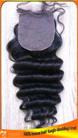 Top Quality 4x4 Human Indian Hair Deep Wave Silk Top Lace Closures 3 Part,Middle Part,Free part,Factory Special