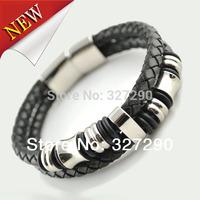 2014 New Attival Bijoux Luxury Men Genuine Leather Bracelets Double Rows Stainless Steel Bangle For Men