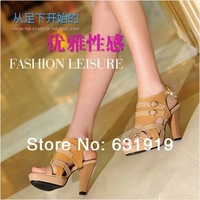 NEW 2014 Women Thick Heels High Quality High-Heeled Brand Shoes Open Toe Sexy Black Shoes Rhinestone Mesh Lace Female Sandals