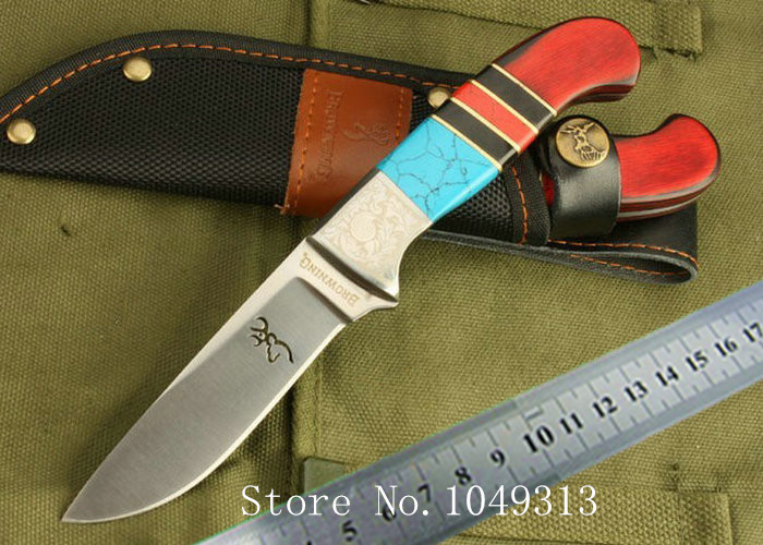 Free shipping Classic OEM Browning Tri-color Hand Sanding 7Cr17MOV Blade Hunting Camping Survival Knife Outdoor Hand Tools KN202(China (Mainland))