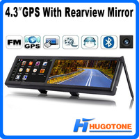 "4.3"" Car GPS Rearview Mirror Built-in GPS Navigator WinCE 6.0 Games FM Video 4GB Free Maps Audio Photo Browser MP3 Calculator"