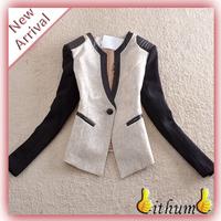 New 2014 basic jackets women blazer Suit jacket Long Sleeves V Neck Patchwork Linen blazer Women Casual jacket Suits for women