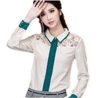 Spring Autumn New Women Lace Blouse Long Sleeve Female Chiffon Shirt Green Femininas Blusas Renda