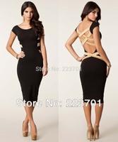 Plus Size 2014 Spring New Fashion Women Sexy Open Back Black Bandage  Dress Cocktail Dress