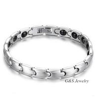 Jewelry Bracelet 316L Stainless Steel Bracelet Magnetic Energe Bracelets For Women (19.8 Cm. Length) G&S003SB