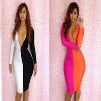 Hot sexy black white stitching two color dress deep V-neck Bodycon Long Sleeve dress nightclub party Spandex Dress C-1056