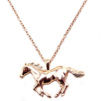 [Min. 10$] Beautiful 2014 wholsale high quility gold horse pendant necklace free shipping accessories