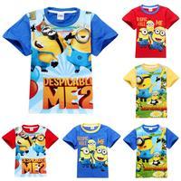 new fashion 2014 despicable me minions children t shirts summer short sleeve boys t-shirt kids tops tees