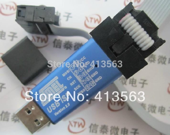produto 2PCS= 1pcs USBASP + 1 pcs download cable .. USBISP AVR Programmer USB ATMEGA8 ATMEGA128 Support Win7 64K with Cover 30365