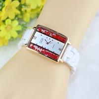 New GEDI Rectangle Ceramic Watch Rose Gold Crystal Women's Dress Watches Quartz Analog