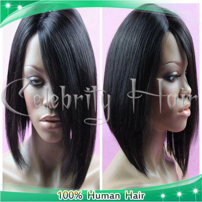 STOCK! NEW Moda Natural Hetero 22inch 150% ao Lado Lace Wigs 4 * 4 Silk Top Full Lace perucas de cabelo humano para as mulheres negras(China (Mainland))