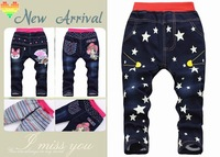 Retail 2014 new arrival winter children jeans girls cartoon Five-pointed star jeans kids jeans trousers girl jeans
