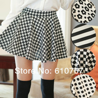 2014 NEW summer Fashion Retro High Waist Houndstooth Pleated  Short Mini Skirt +free shipping