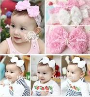 Child headband Infant Babies flower pink/white lace pearl Hairband Toddler Baby girls Felt Flower headbands,D160