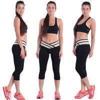 2014 New Arrival High V-Waist Cardio slim Fashion Women's Leggings Yoga sports GYM Fitness pants&capris Casual girl wholesale