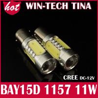 1pcs/lot 1157 BAY15D 11W CREE R5 + 4 COB LED Car Turn Signal Bulb Tail Lights, Retail LED Reverse Light Lamp Free Shipping
