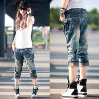 Female loose baggies female jeans plus size ankle length trousers capris hiphop